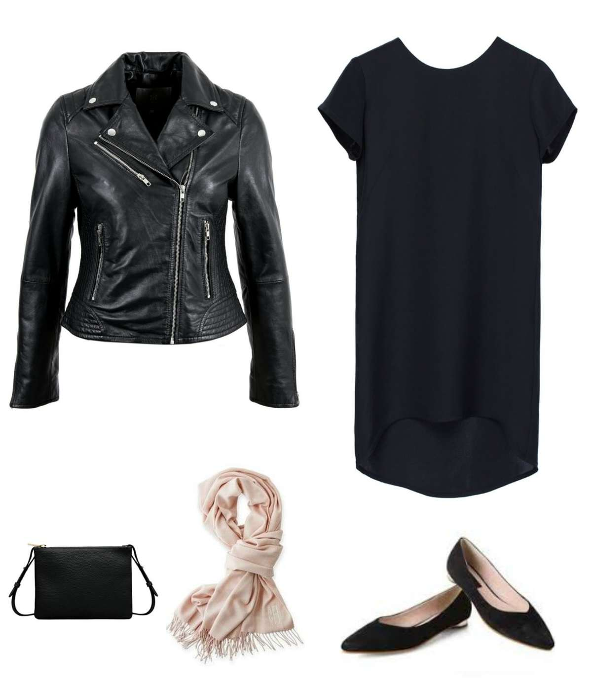 A black silk t-shirt dress with black pointed flats, cream pashmina, black clutch purse, and black leather Moto jacket.