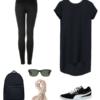 Dress down a silk t-shirt dress with leggings, black Puma sneakers, a backpack, Wayfarer sunglasses, and a pashmina.