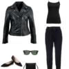 Black cami with black joggers, pointed toe flats, slim crossbody purse, Wayfarer sunglasses, and a black leather Moto jacket.