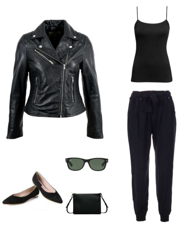 Black cami with black joggers, pointed toe flats, slim crossbody purse, Wayfarer sunglasses, and a black leather Moto jacket.