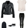 Pair a silk t-shirt with leggings and Puma sneakers for an effortlessly chic look. Add a leather Moto jacket and backpack to finish the look.