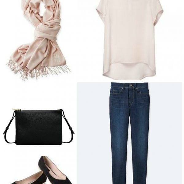 Blush colored silk t-shirt with dark ankle jeans, pointed toe flats, black leather slim crossbody bag, and blush colored pashmina.