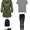 A casual travel capsule wardrobe look with black leggings, a black and white striped t-shirt, black Puma sneakers, backpack, and olive green hooded anorak.