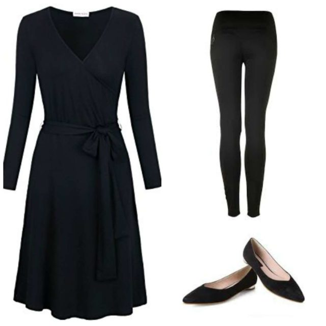 A black matte jersey wrap dress with leggings underneath and black pointed flats. Created from the travel capsule wardrobe.