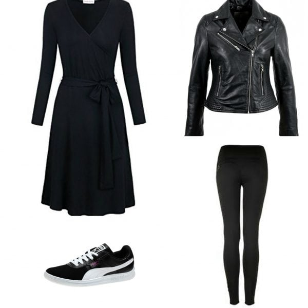 Pieces from the travel capsule wardrobe making an outfit: black matte jersey wrap dress with black leggings, a leather Moto jacket, and black Puma sneakers