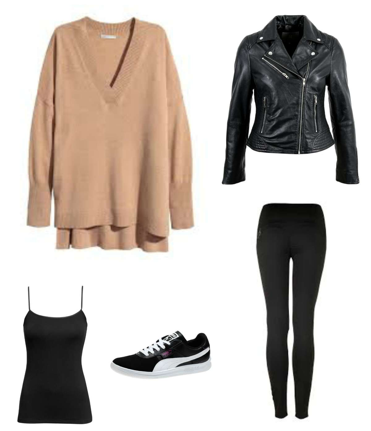 An outfit created from the travel capsule wardrobe featuring an oversized camel sweater, black leggings, a black camisole, black leather Moto jacket, and black Puma sneakers