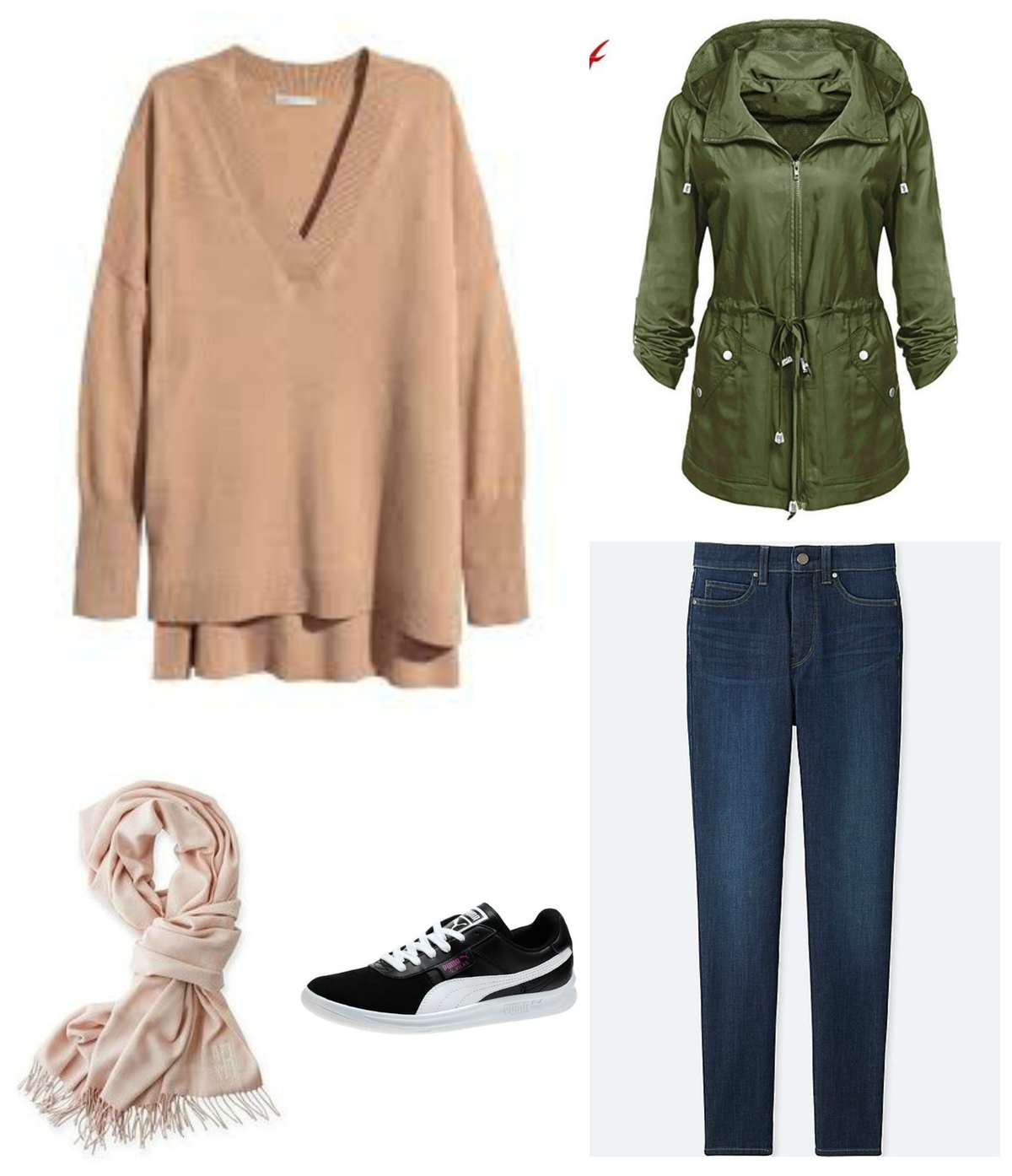 A look created from the travel capsule wardrobe - camel oversized sweater with slim jeans, an olive green anorak, cream pashmina, and black Puma sneakers.