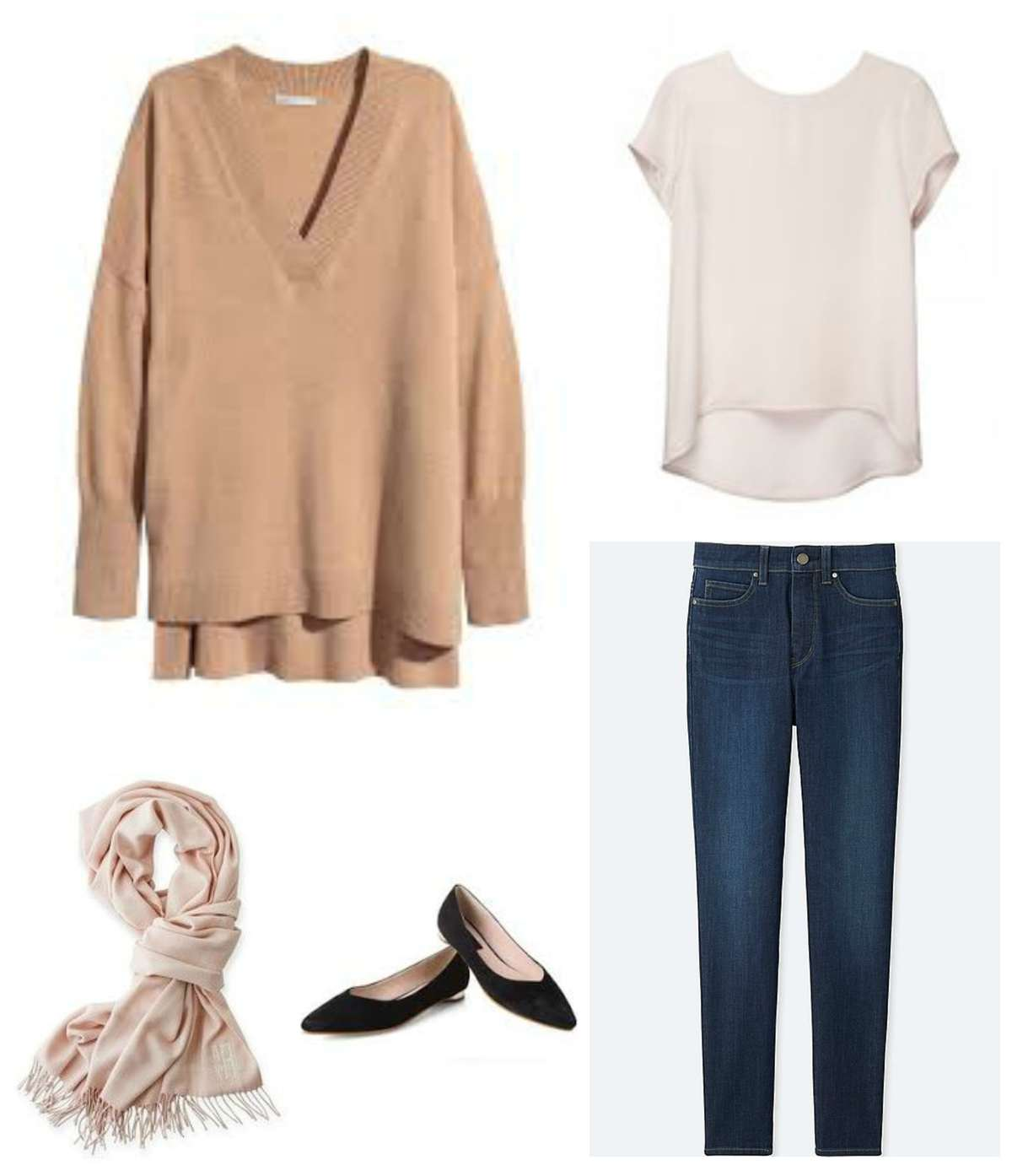 An outfit made from the travel capsule wardrobe - oversized camel sweater with a blush silk t-shirt, dark ankle jeans, pointed toe black flats, and a cream pashmina.