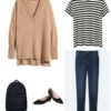 Camel oversized v-neck sweater with a black and white striped t-shirt, dark ankle jeans, black pointed toe flats, and a black backpack.