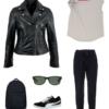 Travel capsule wardrobe look - black joggers, Universal Standard knot shoulder top, black leather Moto jacket, black Wayfarer sunglasses, black Puma sneakers, black backpack.