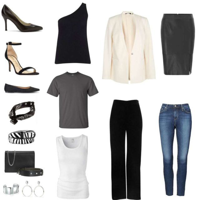 Image is of a capsule wardrobe featuring seven pieces of clothing, three pairs of shoes, five accessories, and the ability to mix and match them into 18 or more different outfits.