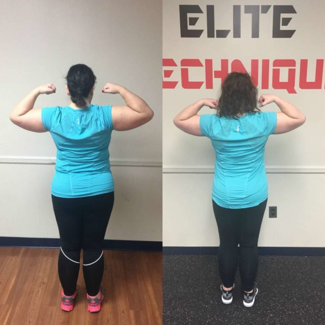 Image is of two photos. On the left, Alison Gary in December wearing a turquoise shirt and black pants, her arms flexing to show bicep muscles, her back turned to the camera. On the left, the same but Alison in May. The side by side shows her body is slimmer, her stomach firmer.