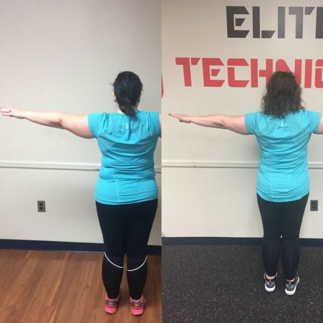 Image is of two photos. On the left, Alison Gary in December wearing a turquoise shirt and black pants, her arms raised straight out from her sides to show her shape and arm size. She is not facing the camera. On the left, the same but Alison in May. The side by side shows her body is slimmer, her stomach firmer.