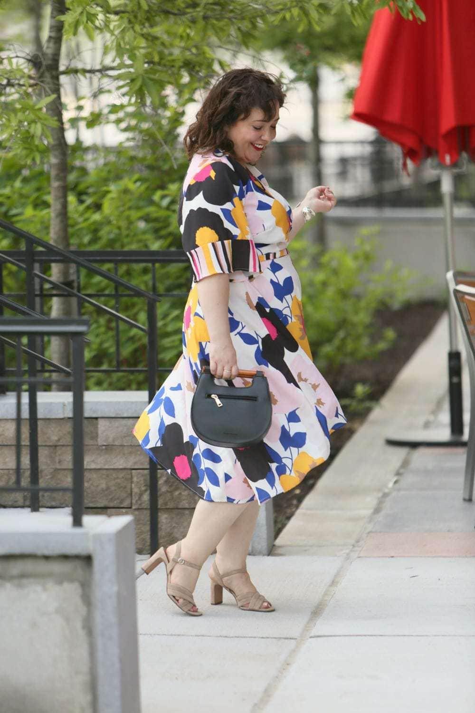 eloquii blocked sleeve wrap dress on a size 14