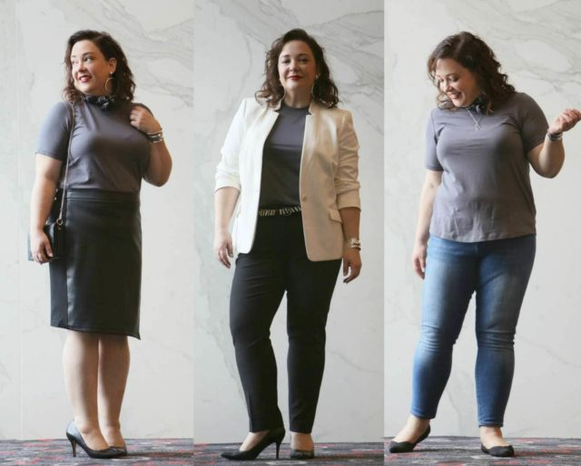 How to tell the difference between t-shirts, how to find a refined t-shirt that can dress up and down, what is the fabric content and the best place to find them in regular and plus sizes.