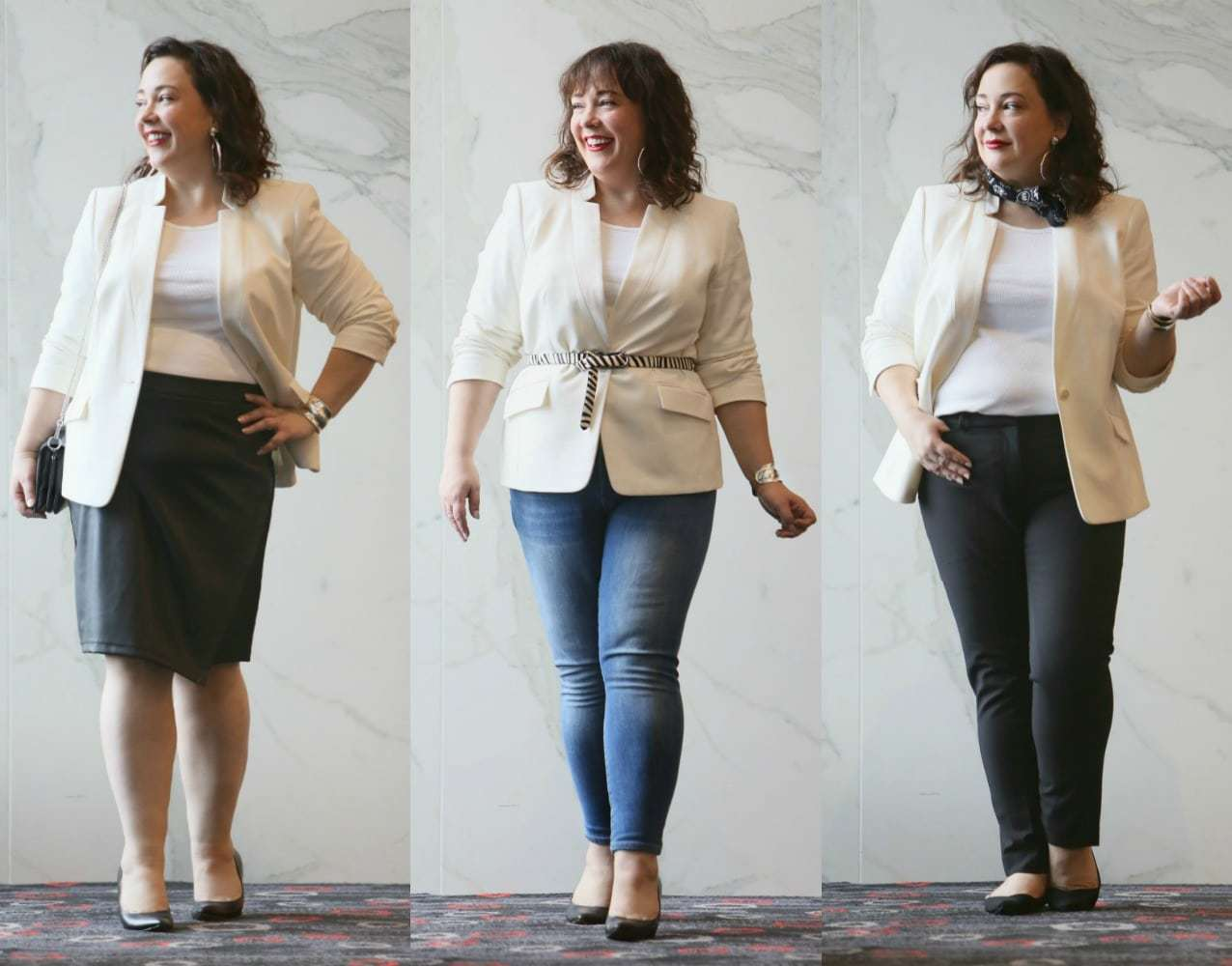 how to style an ivory blazer three ways