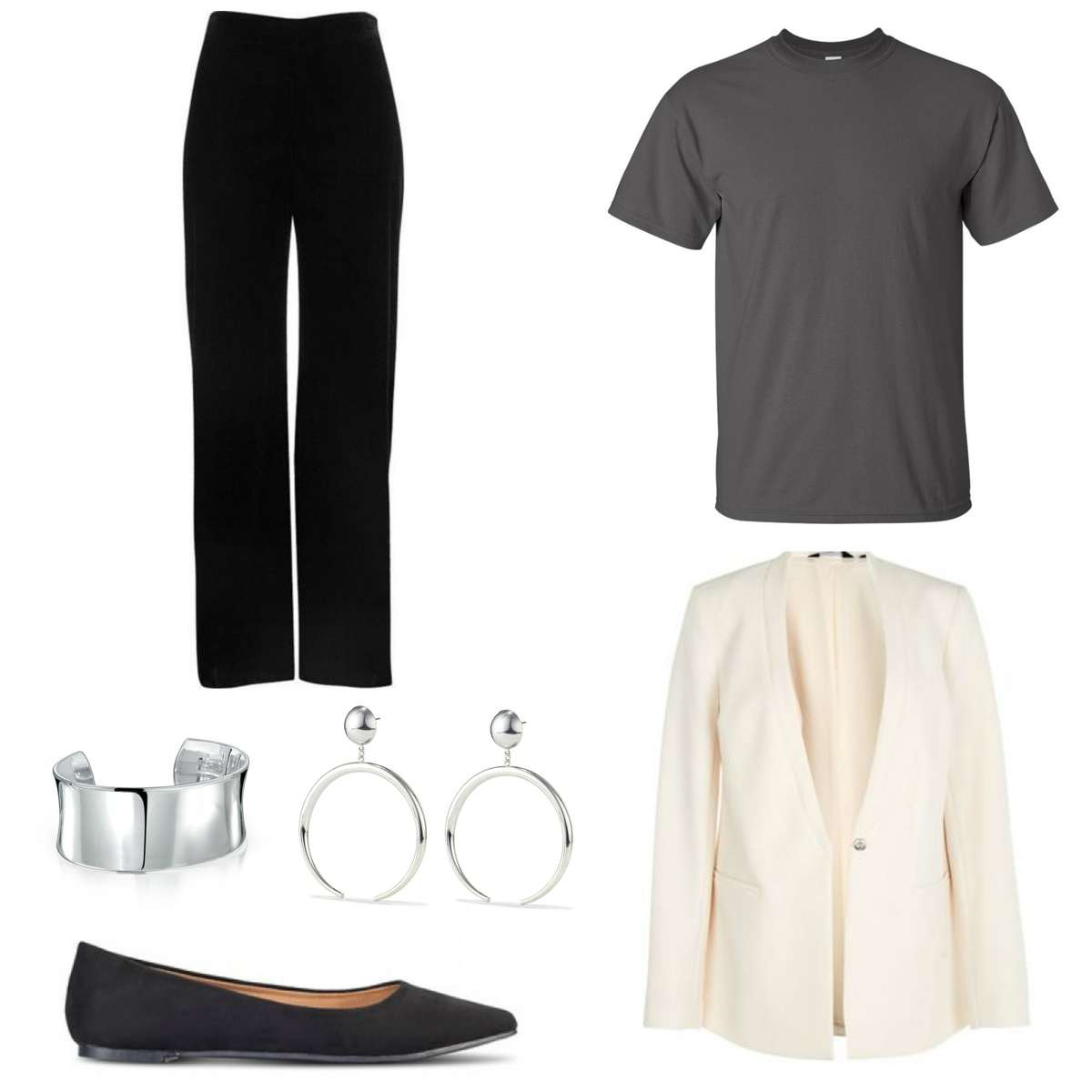 Image is of an outfit featuring a cream blazer, gray t-shirt, black pants, a silver cuff and statement earrings and black pointed toe flats.