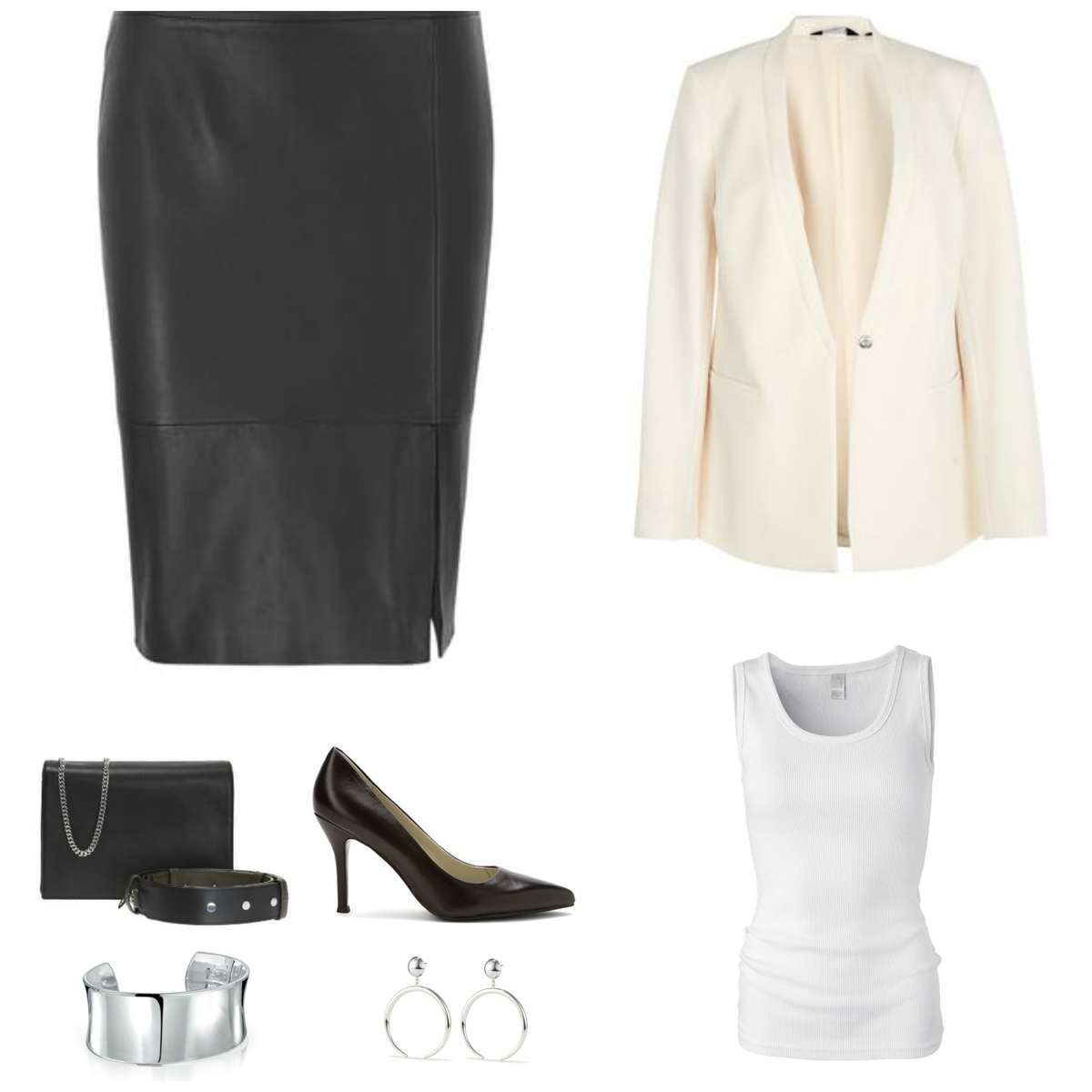 Image is of a leather pencil skirt styled with a cream blazer, white tank, black ALLSAINTS 'Zep' handbag, black Nine West pumps, a silver cuff bracelet, and the Factory Hoops from Jenny Bird in silver.