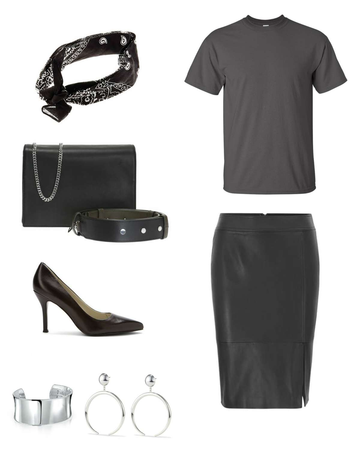 Image is of the Universal Standard T Rex in Gray with a black leather pencil skirt, black bandana, black Zep handbag from ALLSAINTS, black pumps, a silver cuff, and silver Jenny Bird statement earrings.