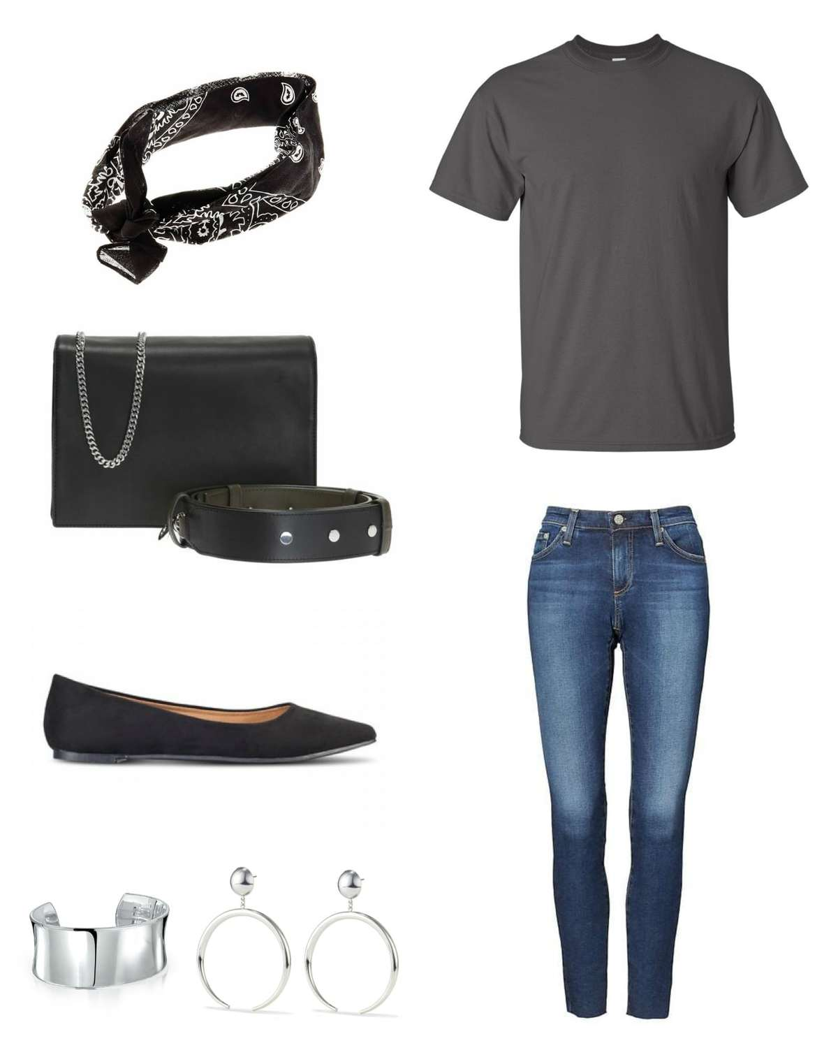 Image is of Banana Republic ankle jeans with the Universal Standard T Rex shirt in gray styled with a black bandana, black Zep handbag from ALLSAINTS, black Rothy's The Point flats, a silver cuff bracelet and silver statement earrings.