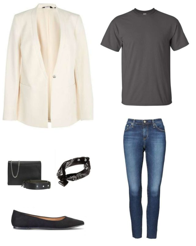 Image is of a cream blazer styled with a gray t-shirt, ankle jeans, a black handbag, black bandana tied at the neck, and black Rothy's Flats in the point style.