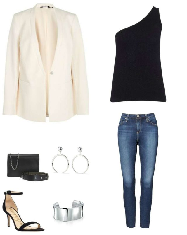 Image is of a black one shoulder sweater styled with skinny jeans and a cream blazer, black handbag, silver statement earrings and cuff bracelet, and black strappy heeled sandals.