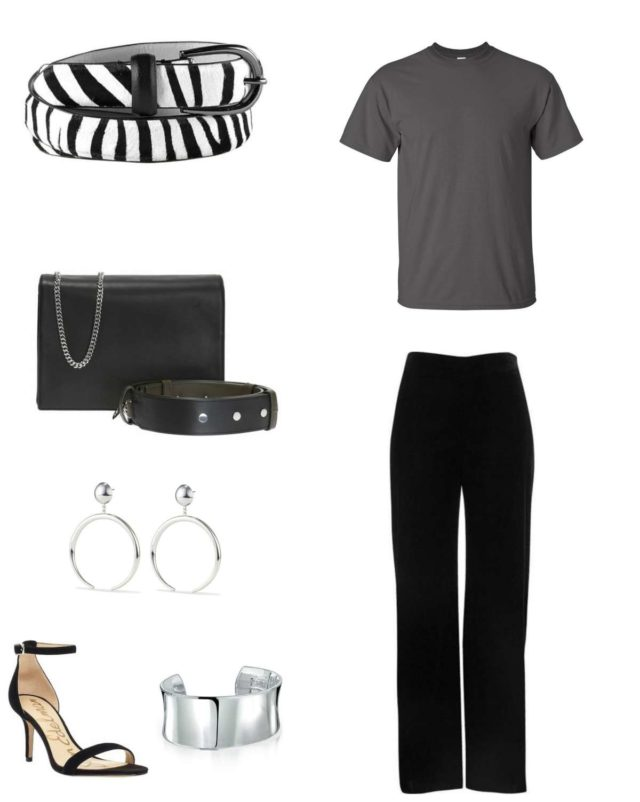 A gray t-shirt and black pants styled with a zebra calf hair belt, black ALLSAINTS 'Zep; handbag, Jenny Bird Factory earrings in silver, a silver cuff bracelet, and a pair of Sam Edelman heeled sandals.