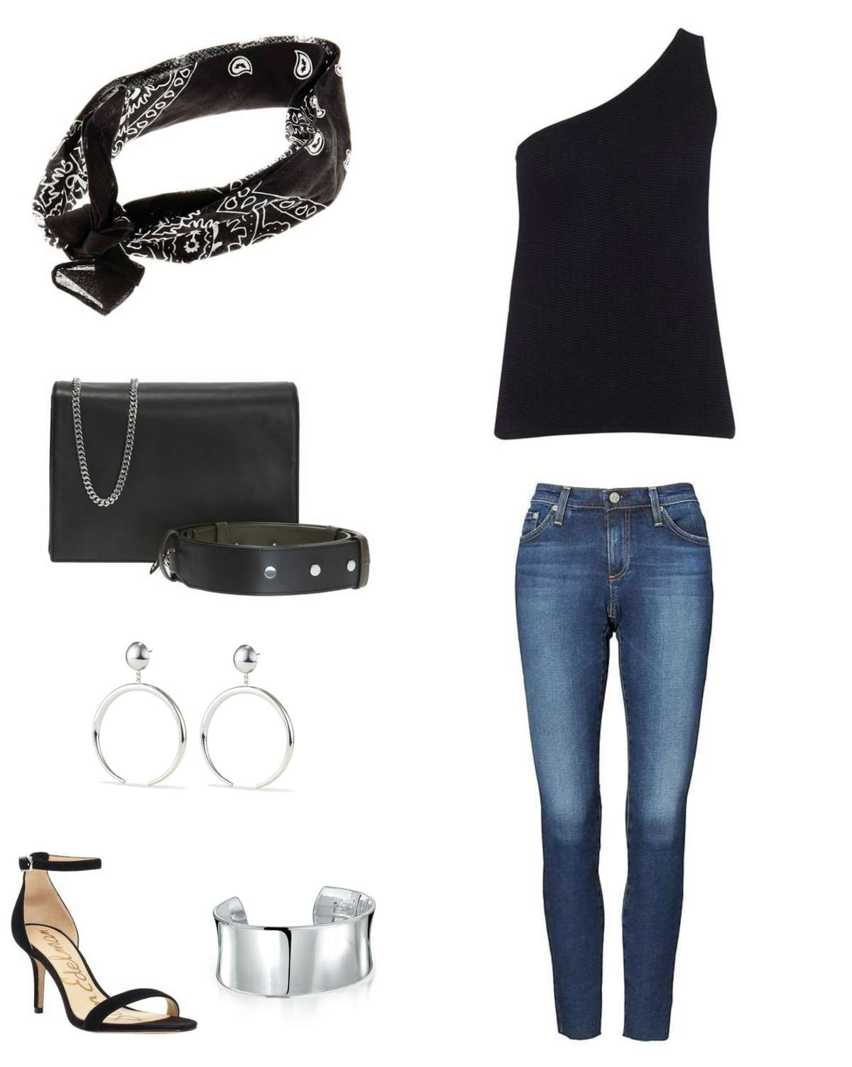Image is of a black one shouldered cashmere sweater with skinny jeans, a black bandana, black handbag, silver Jenny Bird Factory hoops, a silver cuff bracelet, and Sam Edelman black ankle strap heeled sandals.