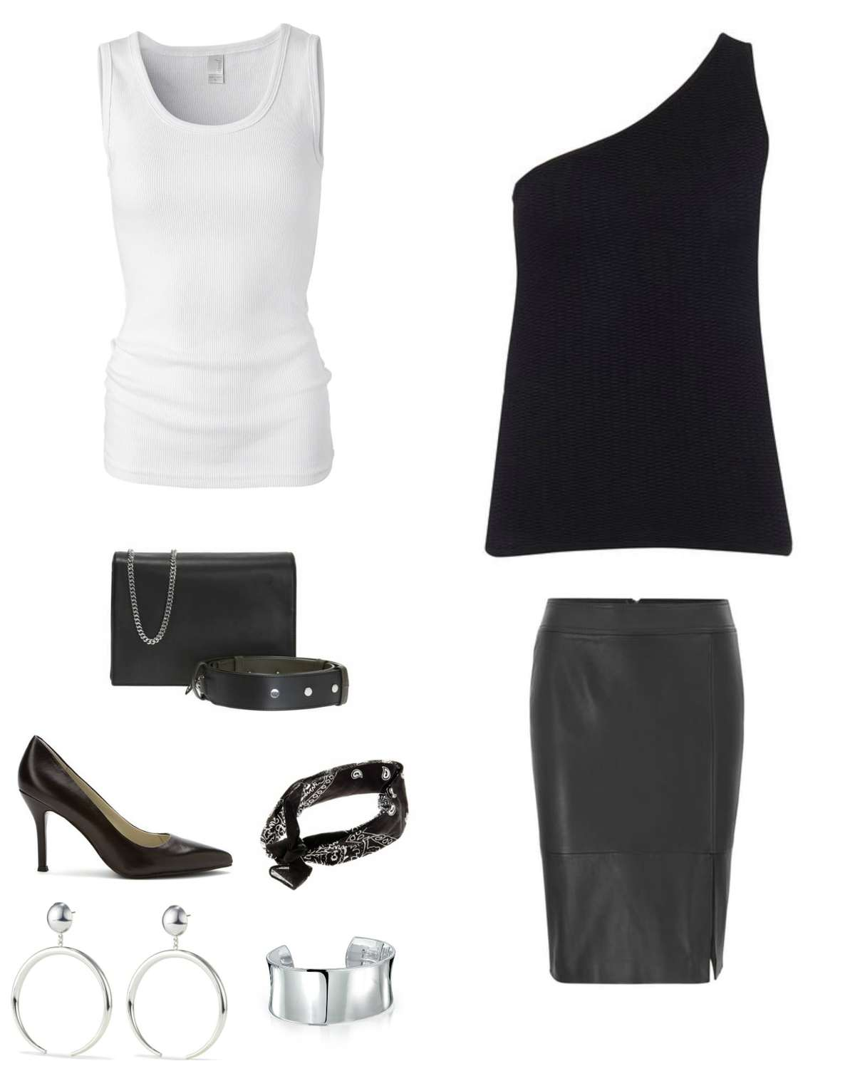 Image is of a black leather pencil skirt styled with a white ribbed tank under a black cashmere one shouldered tank sweater. Accessories are a black handbag, black pumps, black bandana, silver statement earrings, and a large silver cuff bracelet.