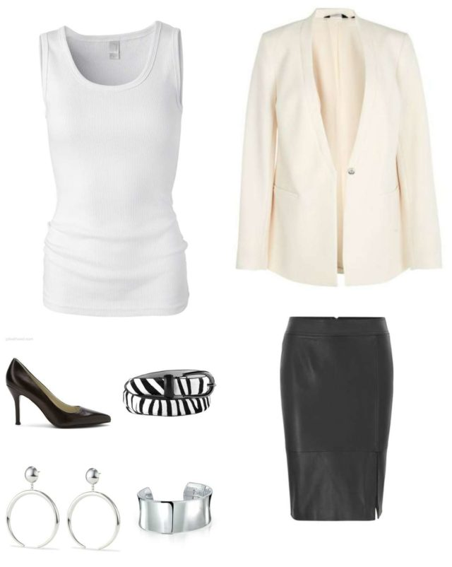 Image is of a cream blazer, white tank, black leather pencil skirt, black pumps, zebra calf hair belt, silver statement earrings, and a silver cuff bracelet.