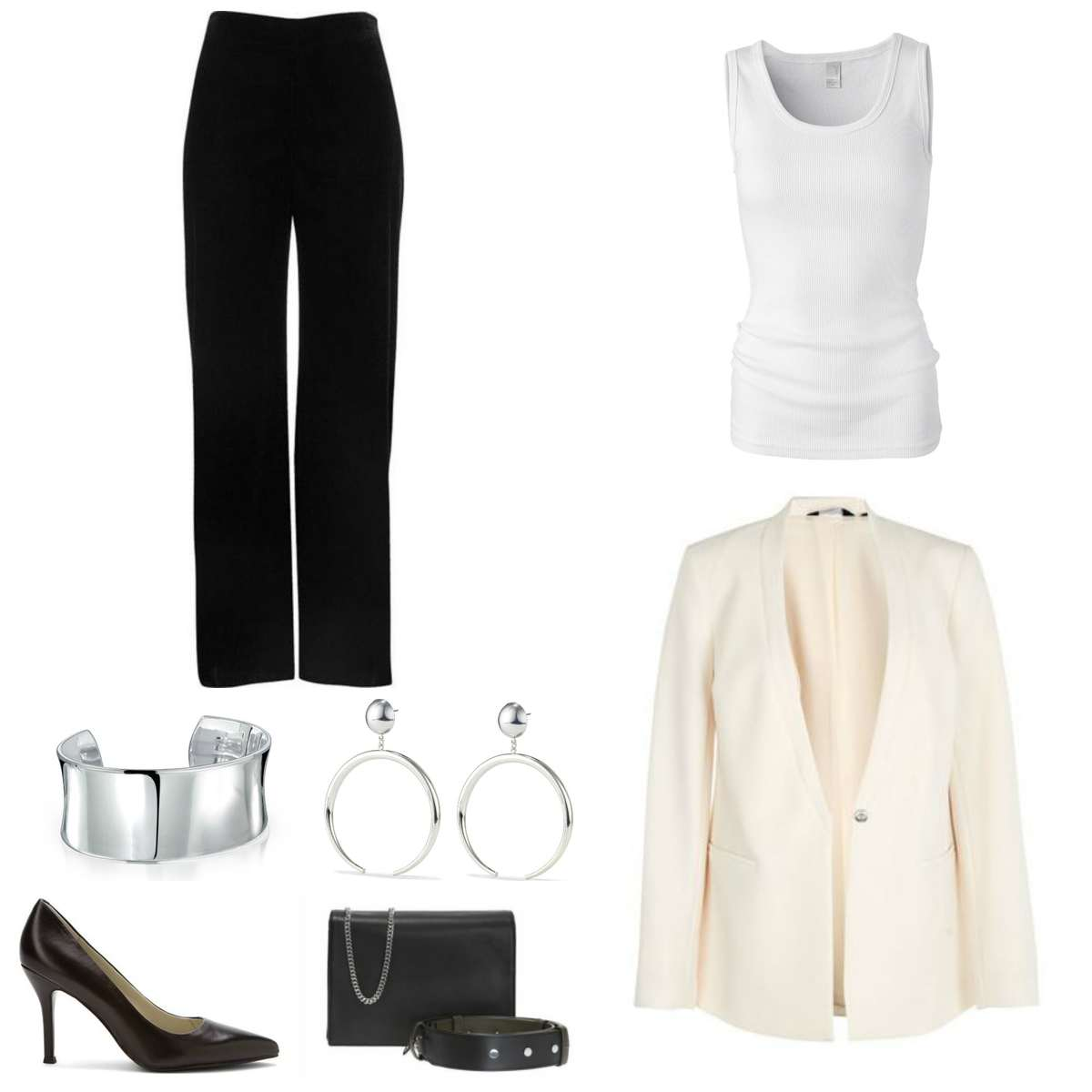 Image is of a cream blazer, white tank, black pants, silver cuff bracelet and statement earrings, black pumps, and a black handbag.