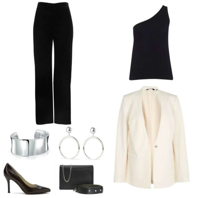 Image is of a cream blazer, black one-shouldered sweater, black pants, silver cuff bracelet and statement earrings, black pumps, and black handbag.