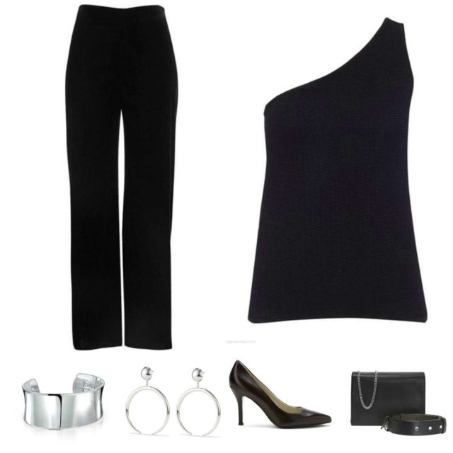 Image is of a black one shouldered sweater, black pants, silver cuff bracelet and statement earrings, black pumps, and a black handbag from ALLSAINTS
