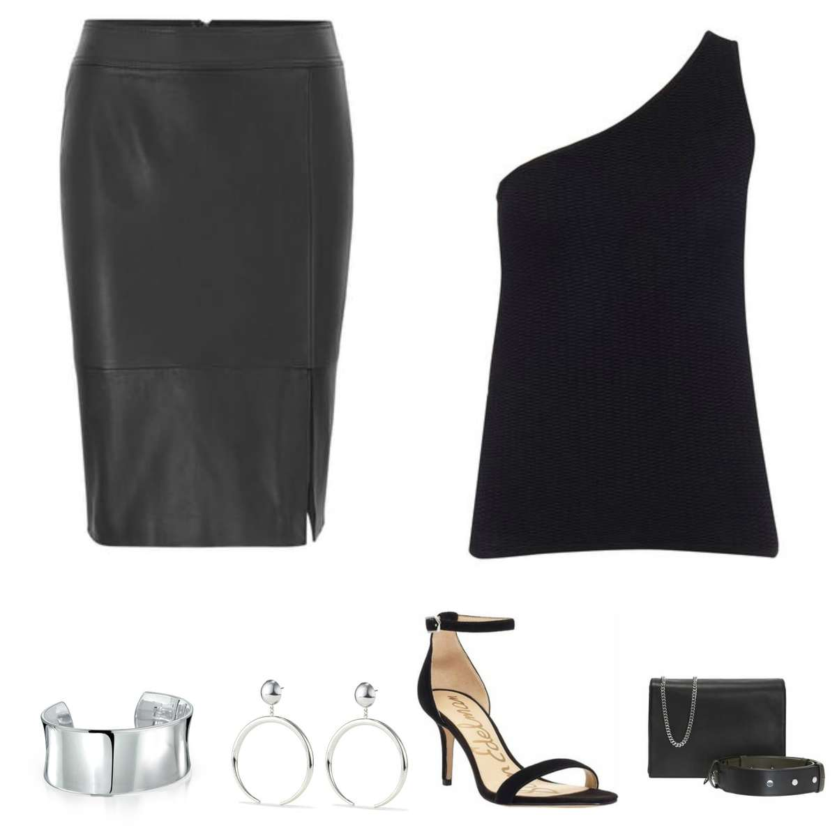 Image is of a black pencil skirt with a black one shouldered sweater, black ankle strap heeled sandals, black small handbag, silver cuff bracelet and silver statement earrings.