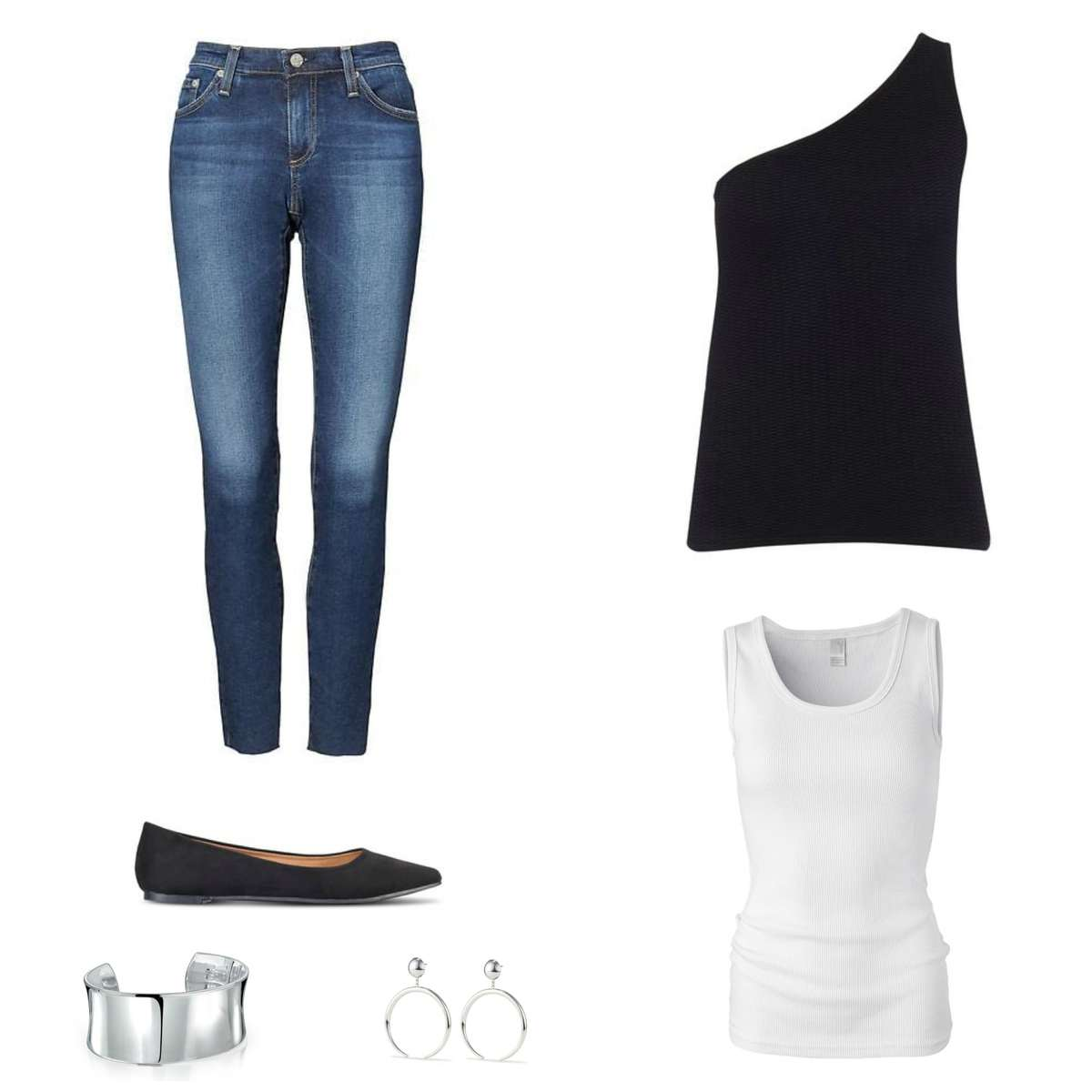 Image is of a pair of skinny jeans with a black one-shouldered sweater to be worn over a white tank top, black flats, silver cuff bracelet and silver Factory Hoop earrings from Jenny Bird.
