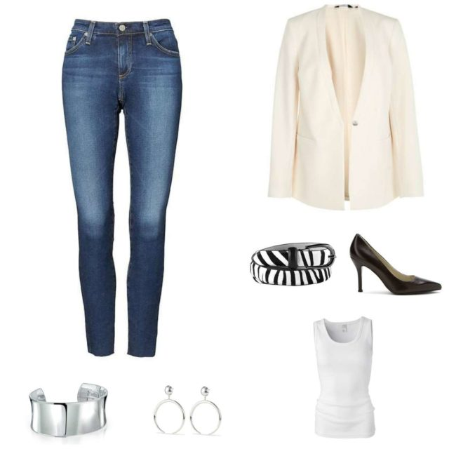 Image is of a pair of Banana Republic stretch ankle jeans with a cream blazer, zebra calf hair belt, black Nine West Flax pumps, white ribbed Loire tank from Universal Standard, a silver cuff bracelet and silver Factory Hoop earrings from Jenny Bird.