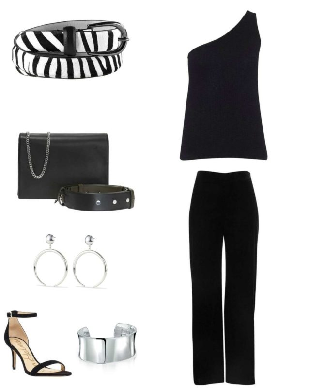 Image of a black one-shouldered sweater from Universal Standard with black straight leg pants, a zebra calf hair belt, black Zip handbag from ALLSAINTS, Jenny Bird Factory Hoops in silver, a silver cuff bracelet, and silver ankle strap heeled shoes.