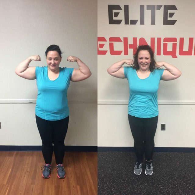 Image is of two photos. On the left, Alison Gary in December wearing a turquoise shirt and black pants, turned to face the left. In both photos she is standing erect with her hands behind her back. On the left, the same but Alison in May. The side by side shows her body is slimmer, her stomach firmer.
