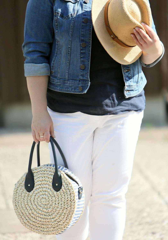 talbots Crochet Straw Circle Crossbody Bag