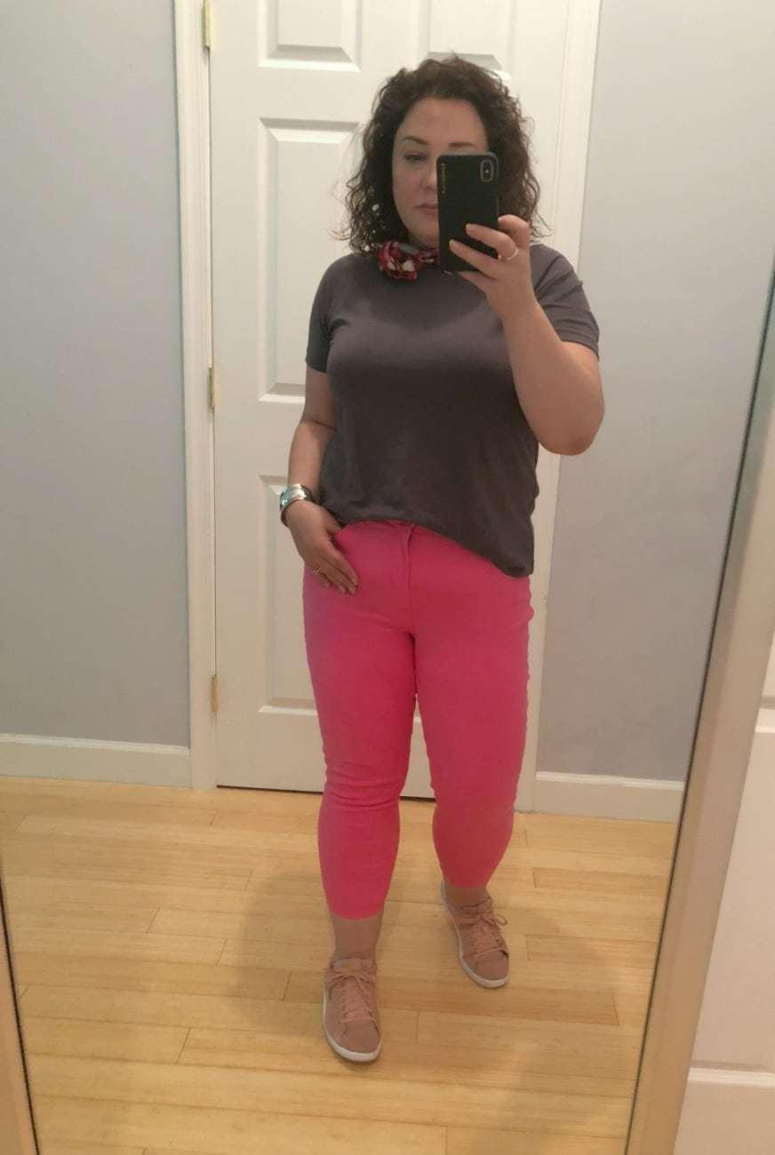 Universal Standard petite T-Rex shirt and Talbots pink skinny jeans on Wardrobe Oxygen