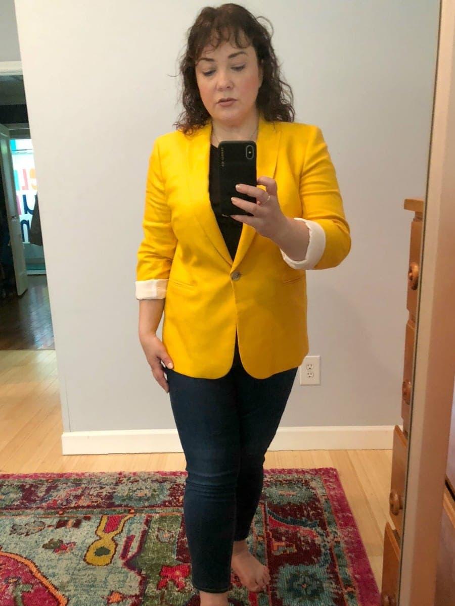 a j crew linen blazer review