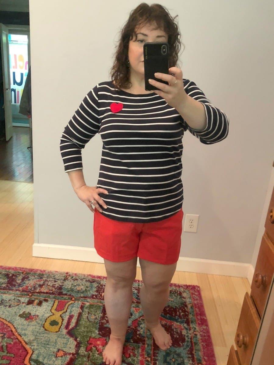 a talbots striped shirt heart applique