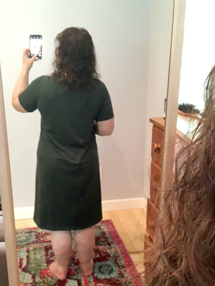 a universal standard tesino dress back view