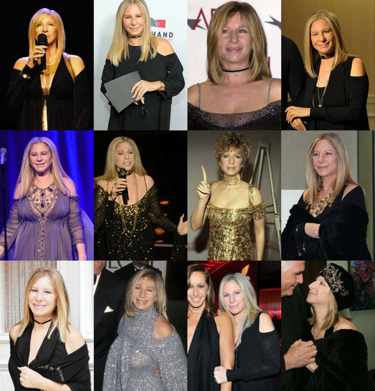 A collage of photos of Barbra Streisand wearing the cold shoulder trend