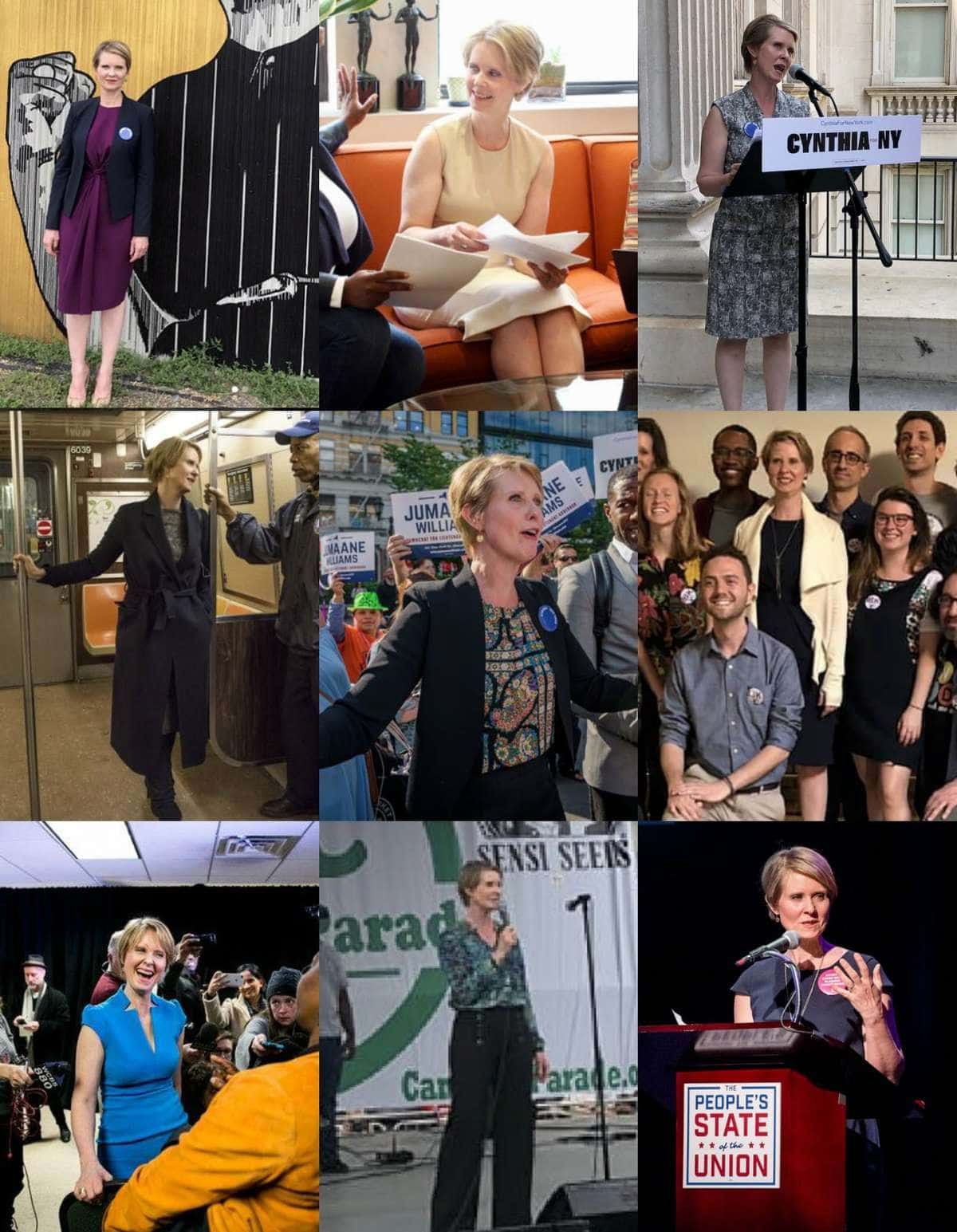 a collage of 12 photos of Cynthia Nixon on the campaign trail. She is wearing solid colors, sheath dresses, soft blazers with patterned blouses