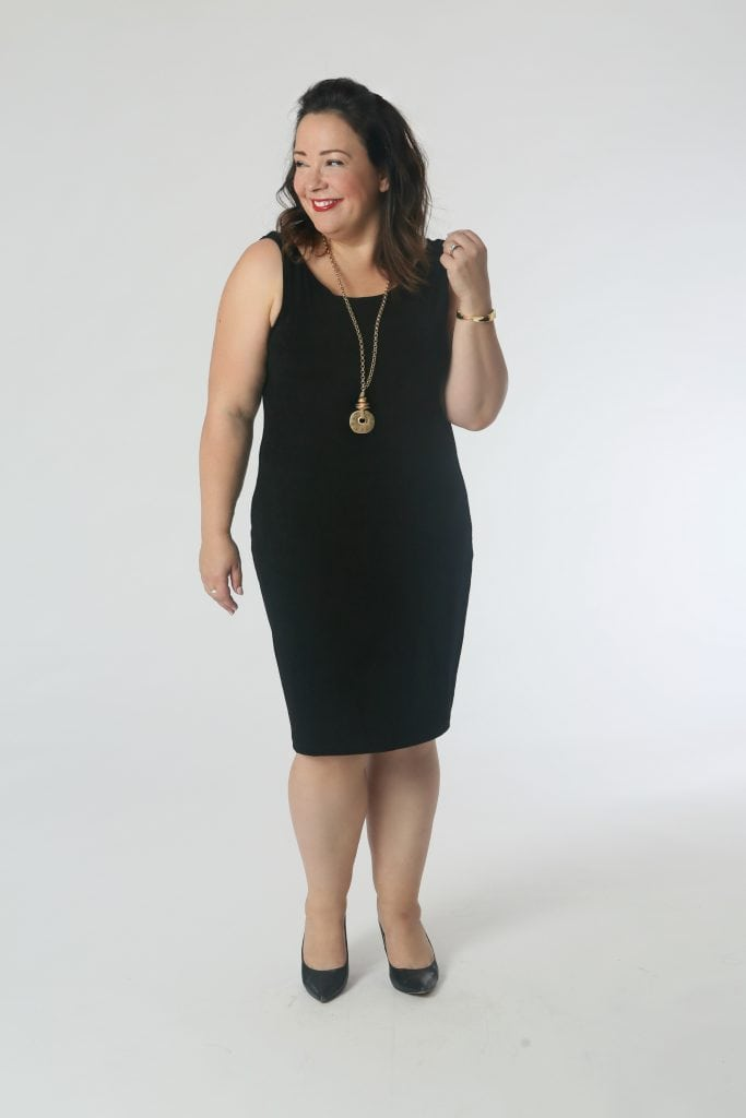 Let's Have a Kiki: Pair the shift dress with gold jewelry and heels for a look that's appropriate for a cocktail party or even a wedding.
