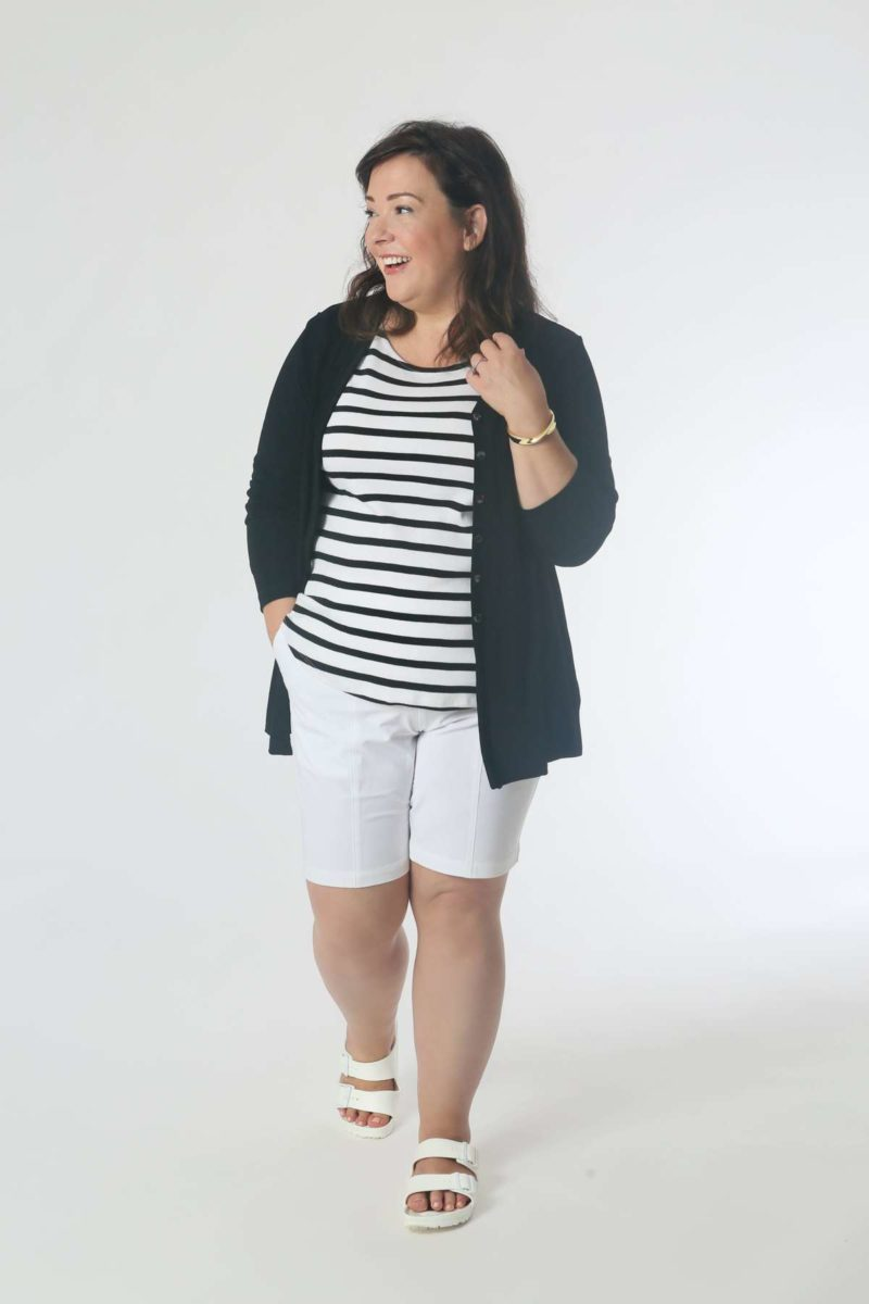 On a Boat: Pair the striped tee and shorts with the cardigan for a breezy evening on the water. Keep it casual with water-friendly sandals and add a bracelet for polish.