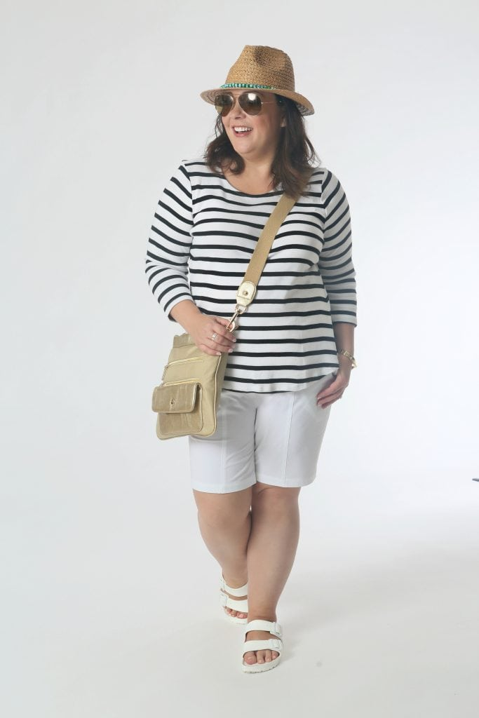 Seeing the Sights: The striped tee and shorts are the simple platform for accessories that take the spotlight.  A hat for sun protection and a shiny crossbody make this a great look for sightseeing, the sandals have arch support for comfy feet.