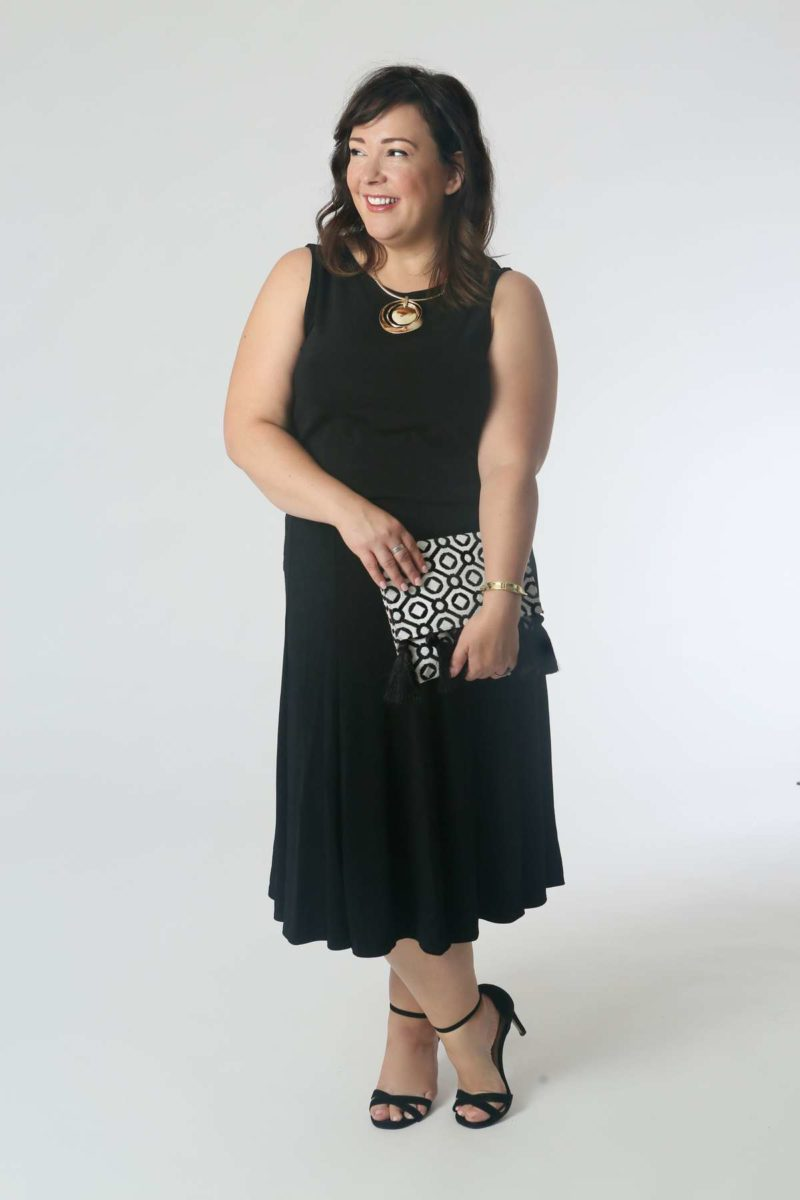 Dancing All Night: This skirt has great movement; tuck in the tank, add some heels, a clutch, and necklace for shine and drama.