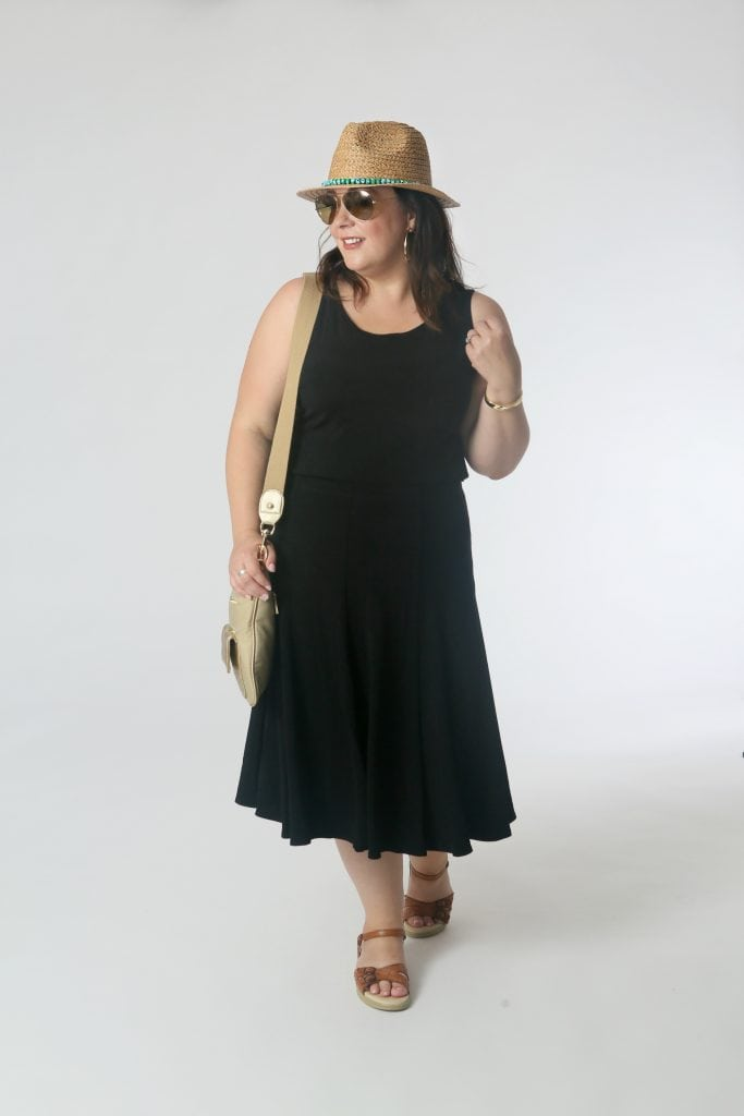 Skirt the Issue: Who says you have to wear shorts during the day? The tank tucked into the skirt (slip some smoothing shorts under to prevent chafing) and sandals make this look great for day tripping.  Add a hat and crossbody for sun protection and to carry all your essentials.